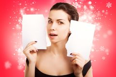 Christmas Banner sign woman with  blank empty paper billboard Royalty Free Stock Image