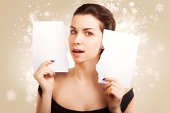 Christmas Banner sign woman with  blank empty paper billboard Royalty Free Stock Photos