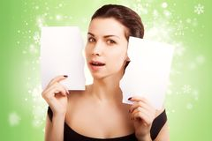 Christmas Banner sign woman with  blank empty paper billboard. With copy space for text Royalty Free Stock Photos