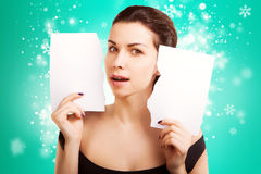 Christmas Banner sign woman with  blank empty paper billboard Royalty Free Stock Photography
