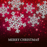 Christmas banner silver snowflakes on a red background. Christmas banner with glowing silver snowflakes on a dark red background. Happy New Year poster Royalty Free Stock Photo