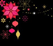 Christmas banner with snowflakes and  decorations Stock Photos