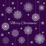 Christmas Banner With Snowflakes And Text On Violet Background. Christmas Banner With White Snowflakes And Text On Violet Background Stock Image