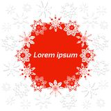 Christmas banner with snowflakes on a white, red background and place for text. Round red frame, shape of snowflakes with shadow, volume Stock Photos