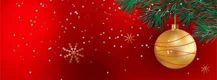 Christmas Banner with sparkle christmas balls - illustration for Facebook Cover - vector