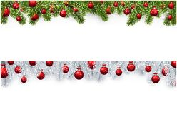 Christmas banner with spruce branches and balls. New Year banners with spruce branches and red Christmas balls. Vector illustration Royalty Free Stock Photo