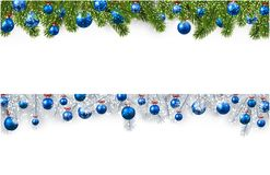 Christmas banner with spruce branches and balls. New Year banners with spruce branches and blue Christmas balls. Vector illustration Stock Images
