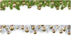 Christmas banner with spruce branches and balls. New Year banners with spruce branches and golden Christmas balls. Vector illustration Royalty Free Stock Image