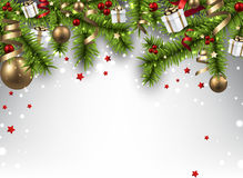 Christmas banner with spruce branches. Royalty Free Stock Photo