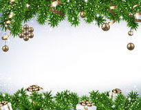 Christmas banner with spruce branches Royalty Free Stock Photography