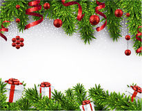 Christmas banner with spruce branches. Stock Photo