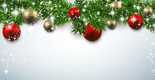 Christmas banner with spruce twigs Royalty Free Stock Images