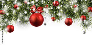 Christmas banner with spruce twigs Royalty Free Stock Photos