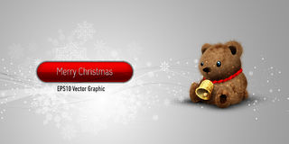 Christmas Banner with Teddy Bear stock illustration