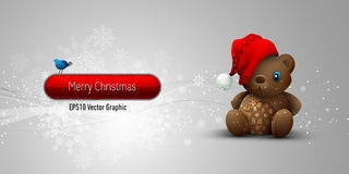 Christmas Banner with Teddy Bear Royalty Free Stock Photo