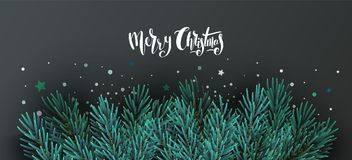 Christmas banner with text and fir tree branches. Vector illustration. Realistic fir branches, frame  on dark background. Merry christmas hand drawn Royalty Free Stock Image
