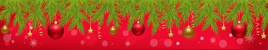 Christmas Banner. Vector. Merry Christmas Banner With New Year's Spheres, Stars, Streamer And Holly Berry, Isolated On Red Background, Vector Illustration Stock Images