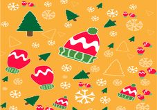 Christmas banner vector background template colorful elements like gifts and decorations. Vector illustration royalty free illustration