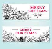 Christmas banner. Vector hand drawn illustration with holly, mis Stock Photos
