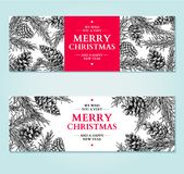 Christmas banner. Vector hand drawn illustration with pine cone, evergreen, fir tree. Engraved traditional xmas decoration botanical element. Greeting card Royalty Free Stock Images