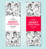 Christmas banner. Vector hand drawn illustration Xmas plants and Stock Images