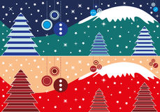 Christmas banner. Vector illustration, Christmas themed banner, both in warm and cold colors. Format provided eps 10 Stock Photography