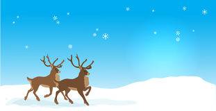 Christmas banner with Vector reindeers Stock Photo