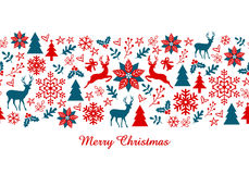Christmas banner, vector seamless pattern Stock Photos