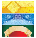 Christmas banner vintage illustration yellow blue Royalty Free Stock Images