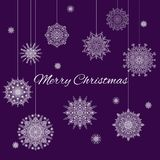 Christmas Banner With White Snowflakes On Purple Background. Christmas Banner With White Beautiful Ornamental Snowflakes On The Violet Background Stock Photos