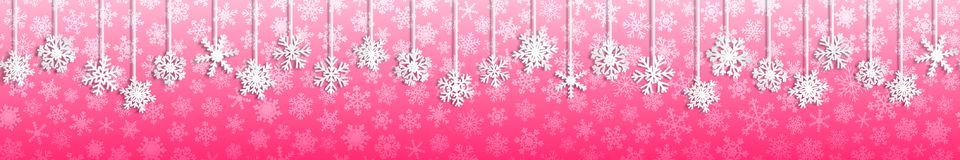 Free Christmas Banner With Hanging Snowflakes Royalty Free Stock Photos - 123773378