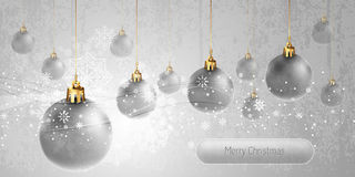 Christmas Banner With Silver Globes Stock Photos