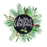 Christmas banner with wreath and text `Merry Christmas`, firtree and olive branch. Watercolor handdrawn illustration isolated. Christmas banner with wreath and Stock Photos