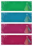 Christmas banners. Set of colorful abstract banners with Christmas trees and snowflakes Royalty Free Stock Photo