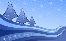Christmas banners. Vector of snow flake and christmas tree on a blue background Royalty Free Stock Images