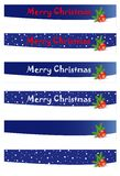 Christmas banners. Six banners with snow and red balls Stock Image