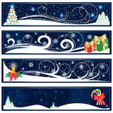 Christmas banners. Abstract Christmas banners on blue background, illustration Royalty Free Stock Photo
