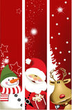 Christmas banners. Three Christmas banners with Santa Claus, snowman and reindeer - vector illustration Royalty Free Stock Images