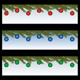 Christmas banners. Set of three Christmas banners with decorated Christmas balls.Isolated on black background.EPS file available Stock Illustration