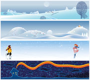Christmas banners. Four Christmas tranquil and scenic banners - vector illustration Stock Image
