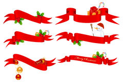 Christmas banners. Christmas set of horizontal red ribbon banners. Vector illustration, isolated on a white Stock Photo