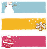 Christmas banners. Set of three isolated Christmas banners Royalty Free Stock Images