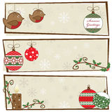 Christmas banners. Festive christmas snowflake banners with ornaments and copy space Royalty Free Stock Image
