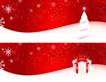 Christmas Banners. Christmas banner with Christmas tree, gift box and snowflakes Stock Photography