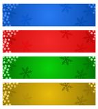 Christmas banners. Four Christmas banner in four colors: blue, red, green and golden Stock Photos
