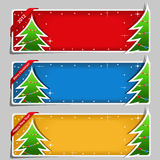 Christmas Banners. Set pf Christmas Banners with Christmas trees Stock Photos