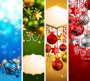Christmas banners. With baubles and place for text. Vector illustration vector illustration