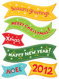 Christmas banners. Colorful lettering set Stock Photo
