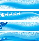 Christmas banners. Winter vector backgrounds with  snowflakes, fir tree, Santa and reindeers Royalty Free Stock Image