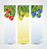 Christmas banners. Set the background with Christmas balls and branching Royalty Free Stock Images